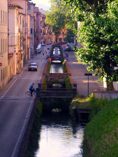 lucca italy - a local biking around town