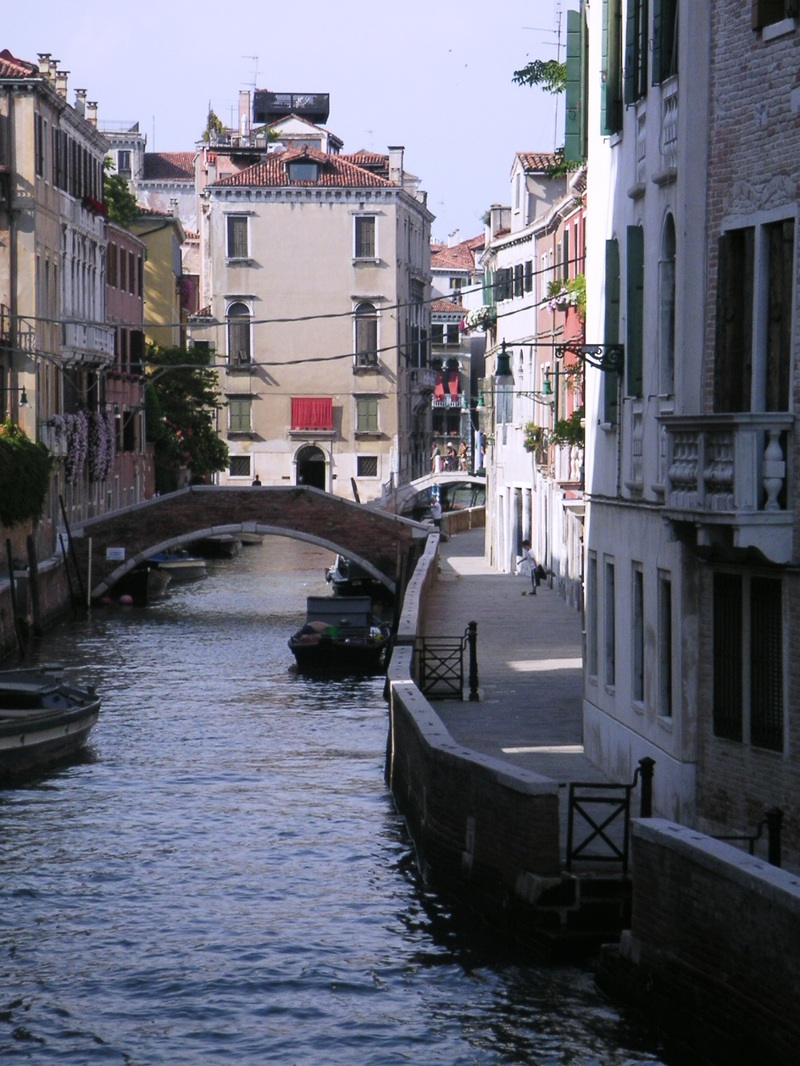 Footbridge canal venice italy