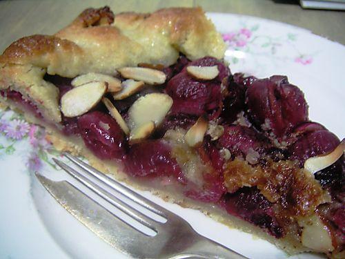slice of cherry almond crostata