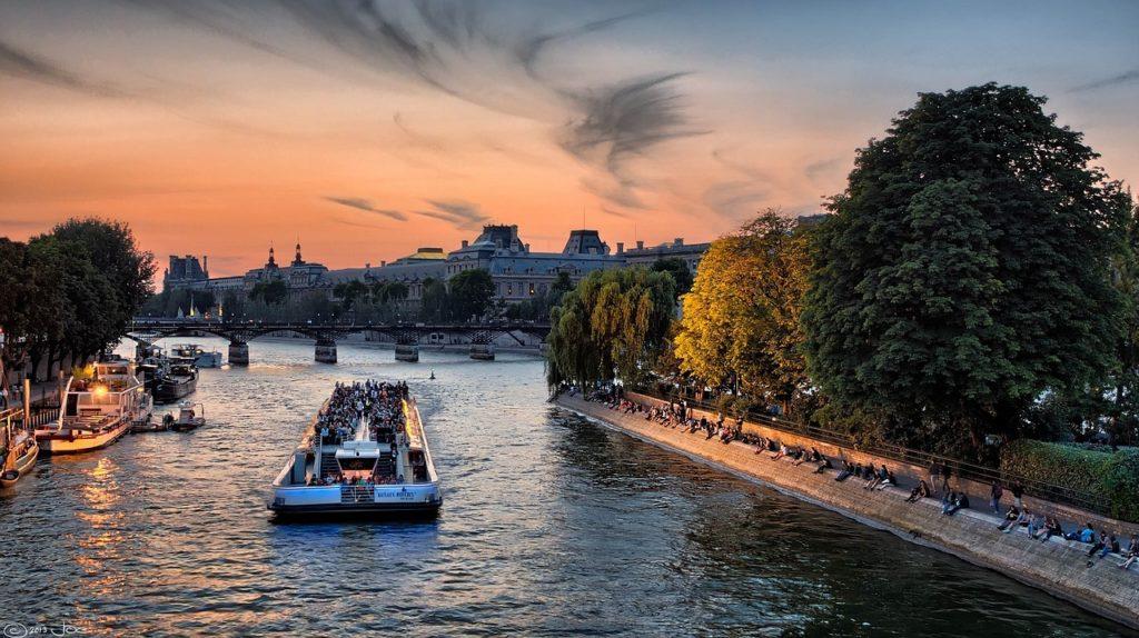 paris sunset seine France travel