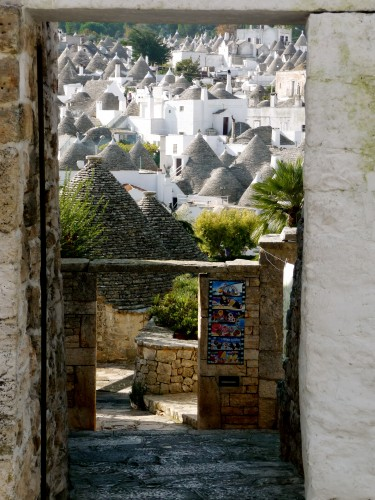 view of trulli roofs alberobello puglia