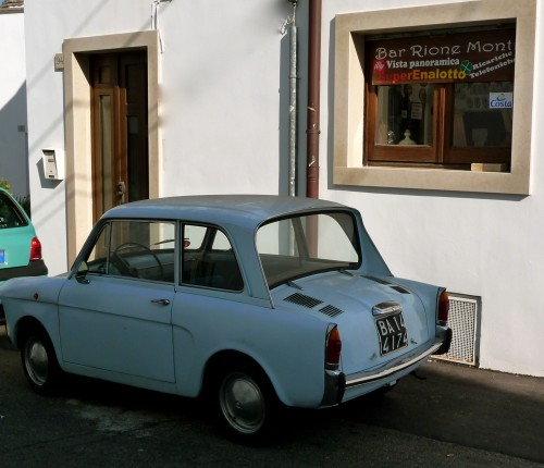 Vintage light blue car