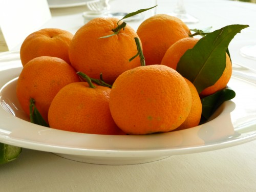 Clementines in a white bowl
