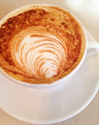 latte art on cappuccino