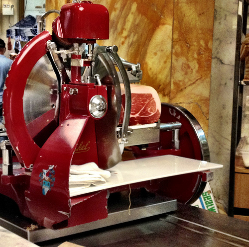 Meat slicer at Eataly