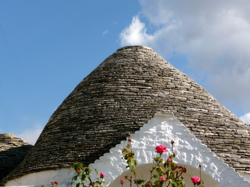 trullo with pink roses alberobello